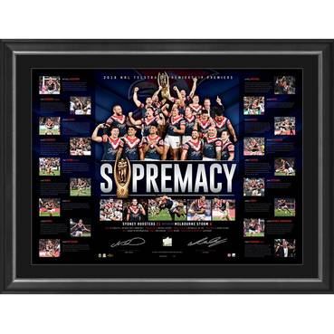 Sydney Roosters 2018 NRL Premiers Dual Signed 'Supremacy'
