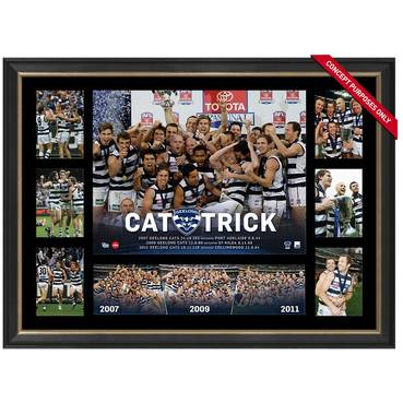 GEELONG CATS PREMIERS TRIBUTE FRAME 'CAT-TRICK'