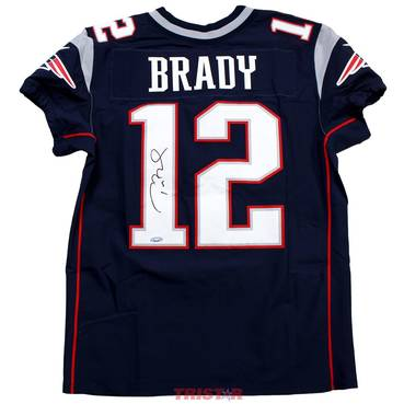 Tom Brady Signed New England Patriots Nike 'Elite' Blue Authentic Jersey