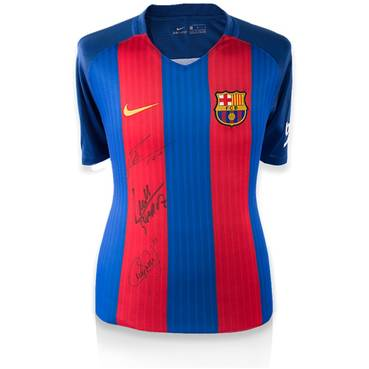 MESSI, SUAREZ AND NEYMAR JR TRIPLE SIGNED BARCELONA SHIRT