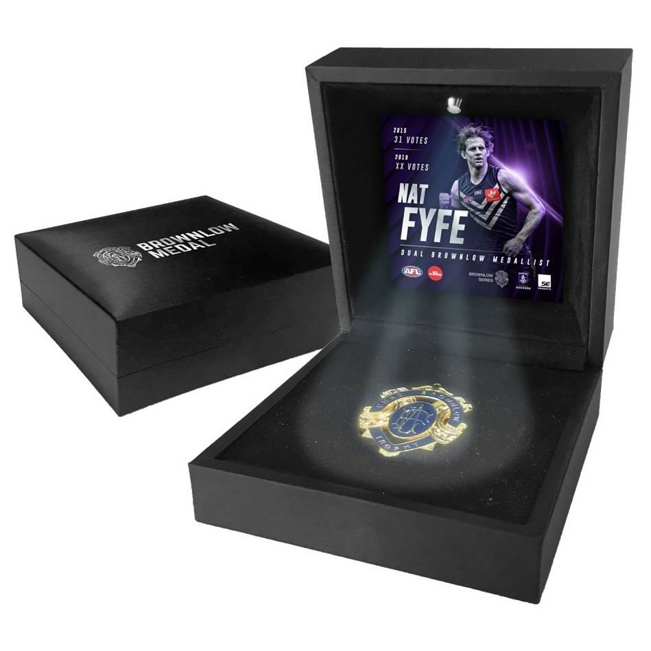 mainNat Fyfe 2019 Boxed Brownlow Medal Display0