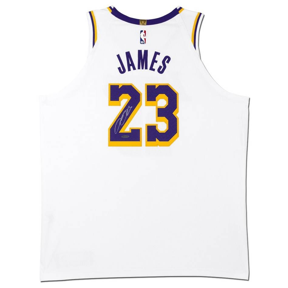 mainLeBron James Signed Los Angeles Lakers White Jersey0