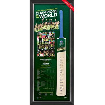 Australia ICC Women's T20 WC 2020 Champions Squad Signed Bat Display