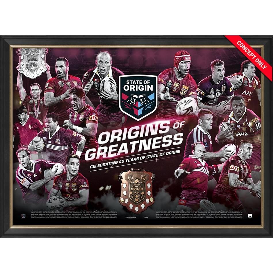 mainQLD Maroons 'Origins of Greatness' Framed Print0