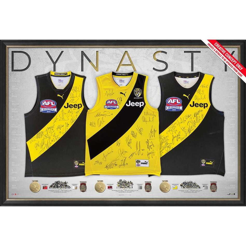 mainRichmond Premiership Dynasty Team Signed Triple Guernsey Display0