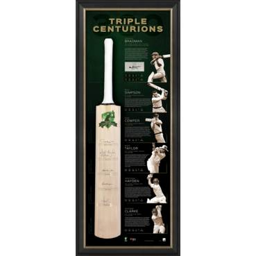 TRIPLE CENTURIONS SIGNED BAT DISPLAY